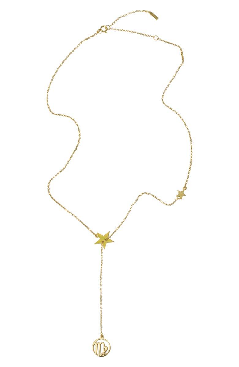 ADORNIA Virgo Zodiac Lariat Necklace, Main, color, METALLIC GOLD
