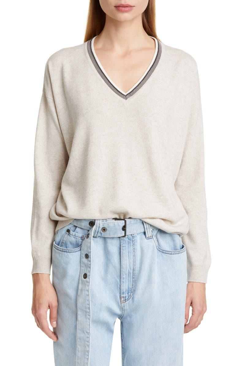 BRUNELLO CUCINELLI Monili Trim Cashmere Boyfriend Sweater, Main, color, WHITE OYSTER