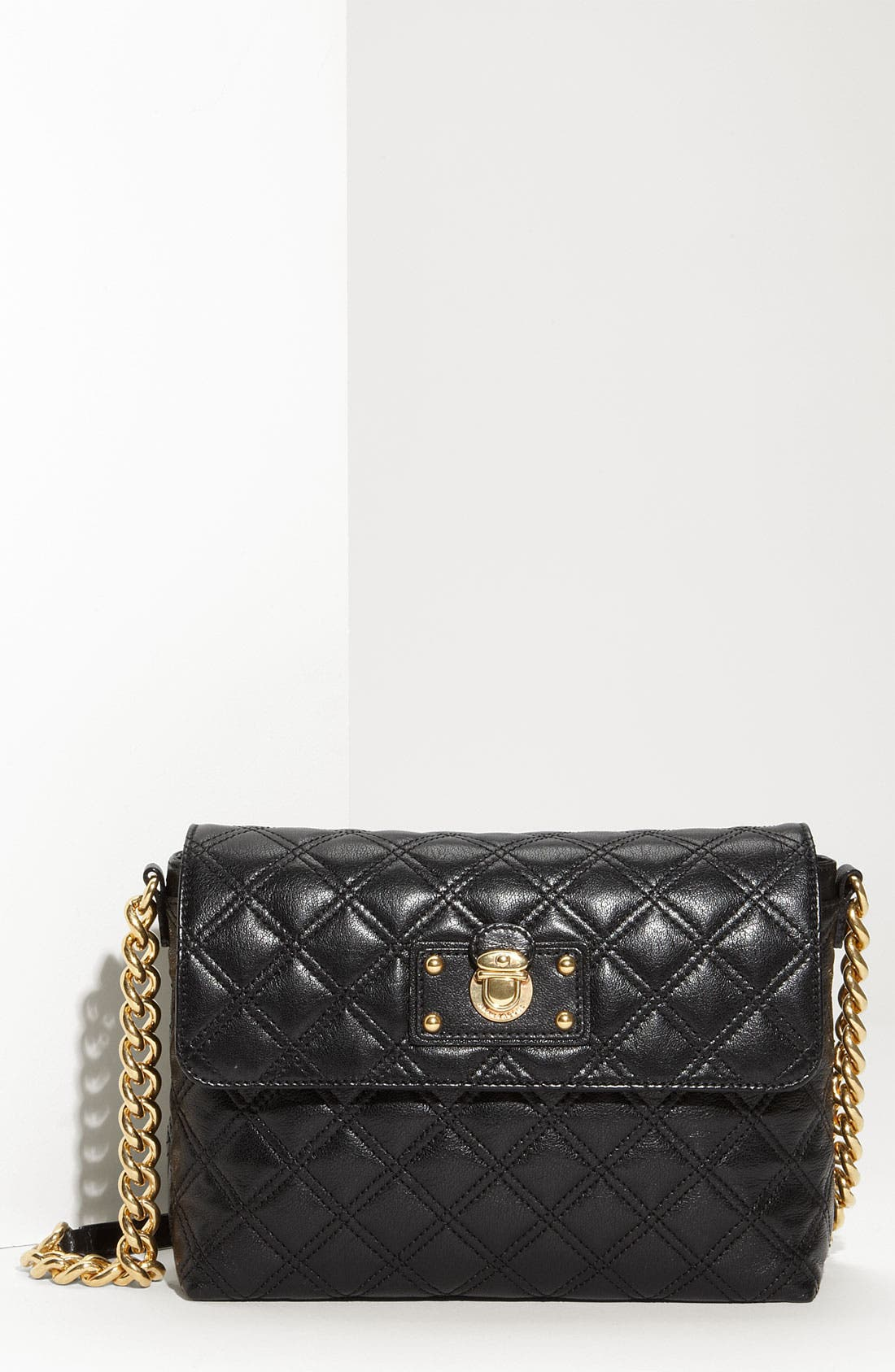 'Large Quilting Single' Leather Shoulder Bag, Main, color, 001