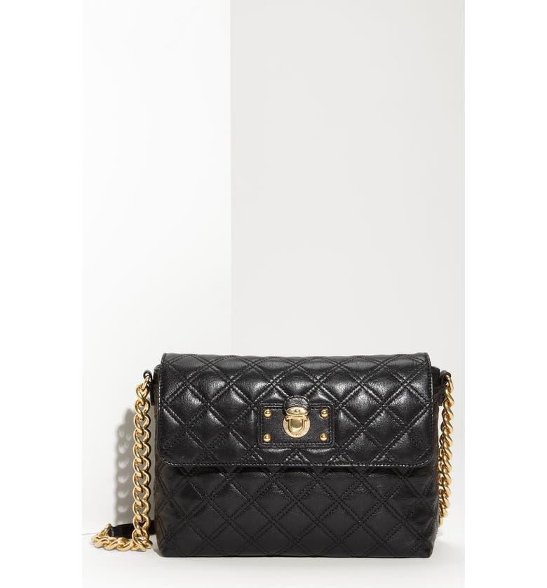 MARC JACOBS 'Large Quilting Single' Leather Shoulder Bag, Main, color, 001