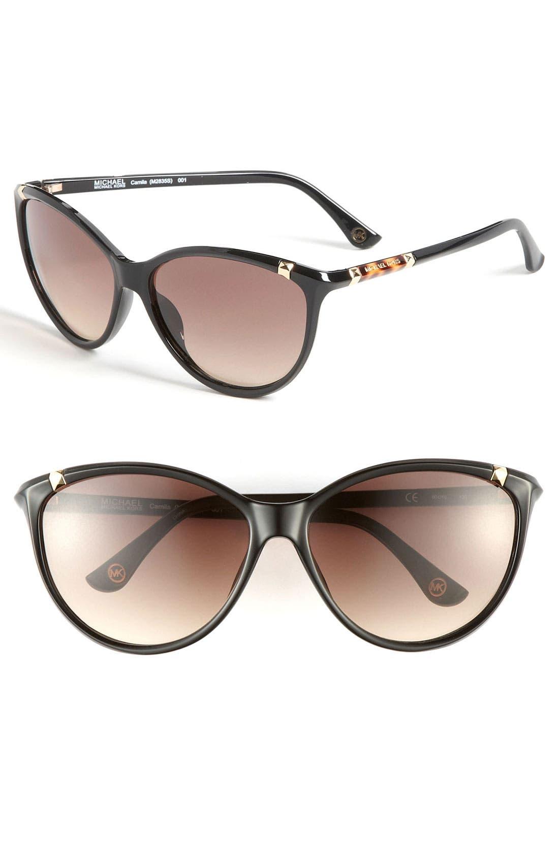 'Camila' 60mm Sunglasses, Main, color, 001