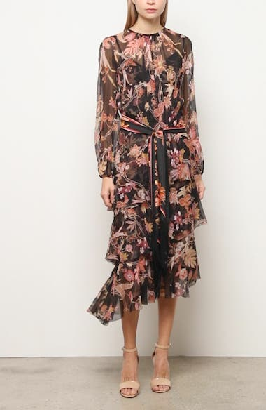 Wavelength Floral Long Sleeve Asymmetrical Silk Midi Dress, video thumbnail