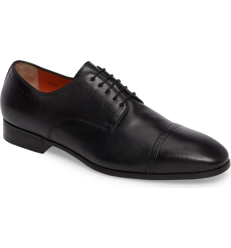 SANTONI Gareth Cap Toe Derby, Main, color, BLACK LEATHER