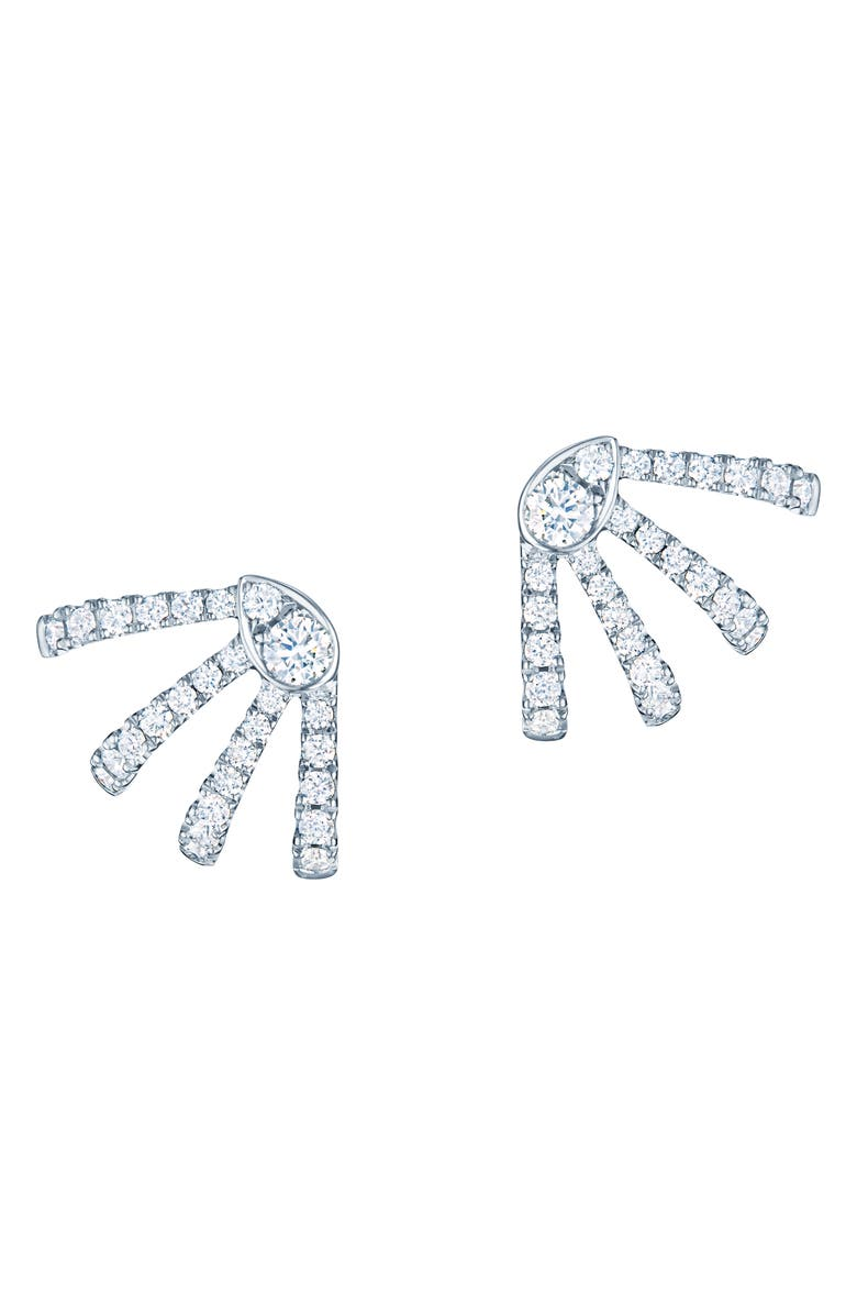 KWIAT Small Vine Diamond Huggie Earrings, Main, color, WHITE GOLD