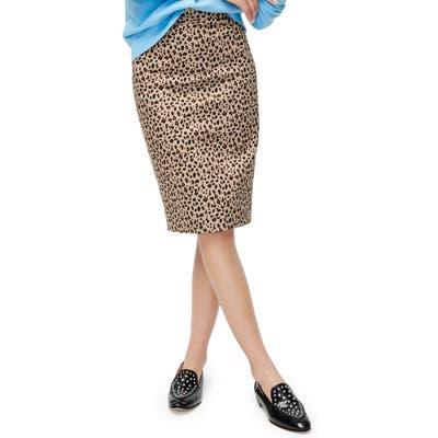 J.crew Leopard Stretch Cotton No. 2 Pencil Skirt, Brown