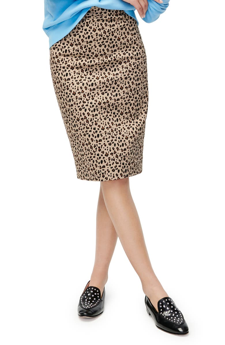 J.CREW Leopard Stretch Cotton No. 2 Pencil Skirt, Main, color, CAMEL MOD