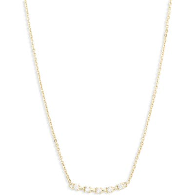 Nordstrom Cubic Zirconia Curved Bar Pendant Necklace