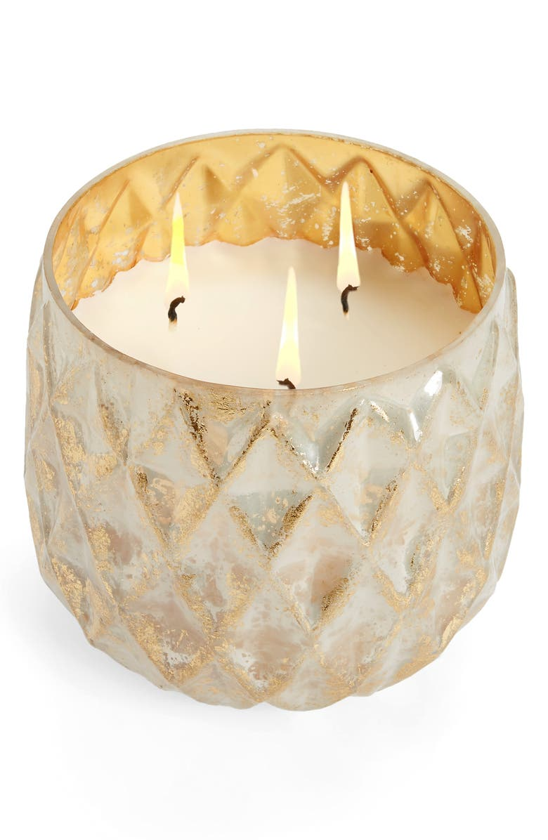 ANTHROPOLOGIE Large Distressed Foil Candle, Main, color, FROSTED BALSAM AND CEDARWOOD