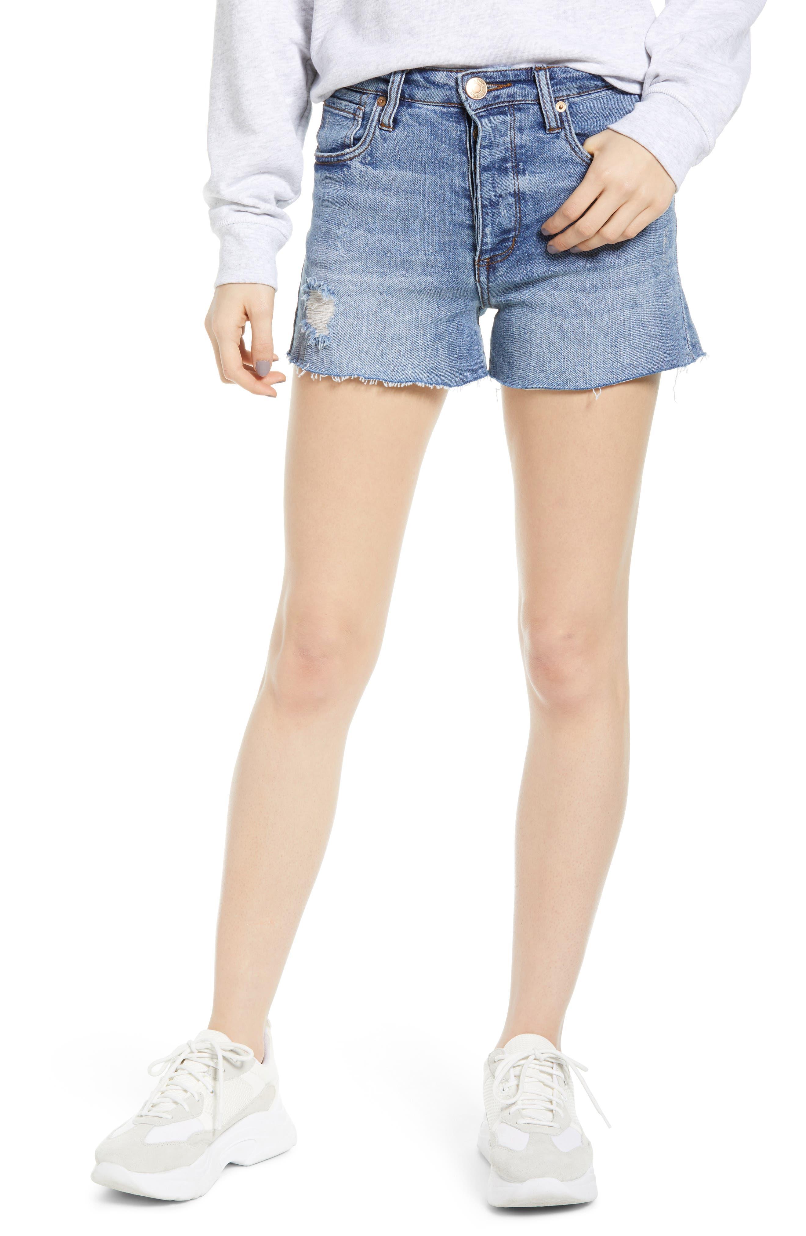 ,                             Kate High Waist Denim Shorts,                             Main thumbnail 1, color,                             LIGHT WASH