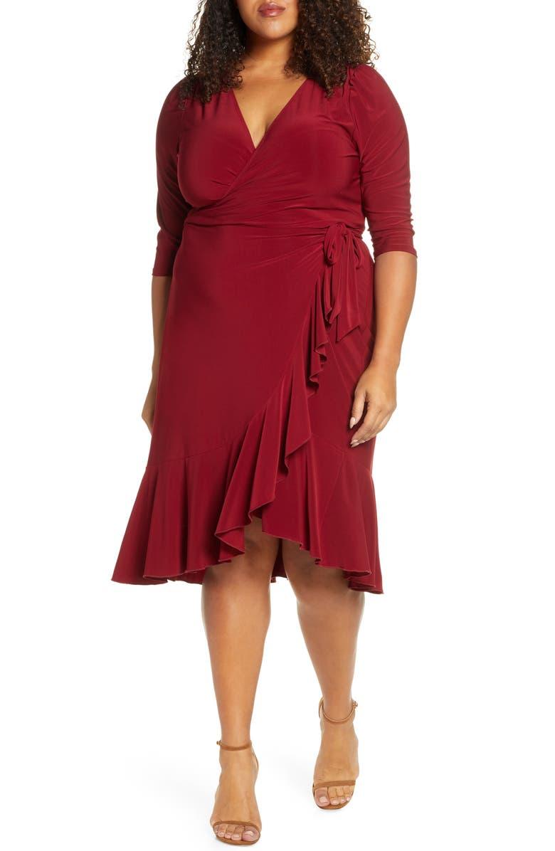 KIYONNA Whimsy Wrap Dress, Main, color, BURGUNDY