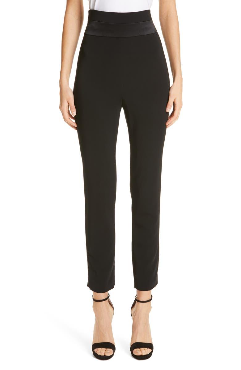 CUSHNIE High Waist Crop Slim Pants, Main, color, 001