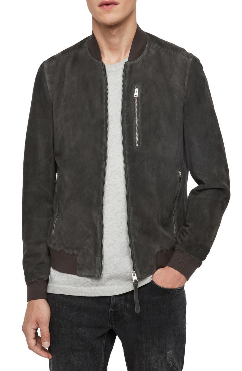 ALLSAINTS Kemble Suede Bomber Jacket, Main, color, SOOT GREY
