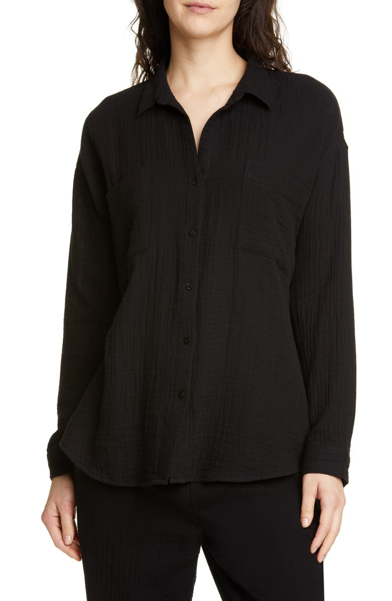 EILEEN FISHER Crinkled Cotton Button Up Blouse, Main, color, 001