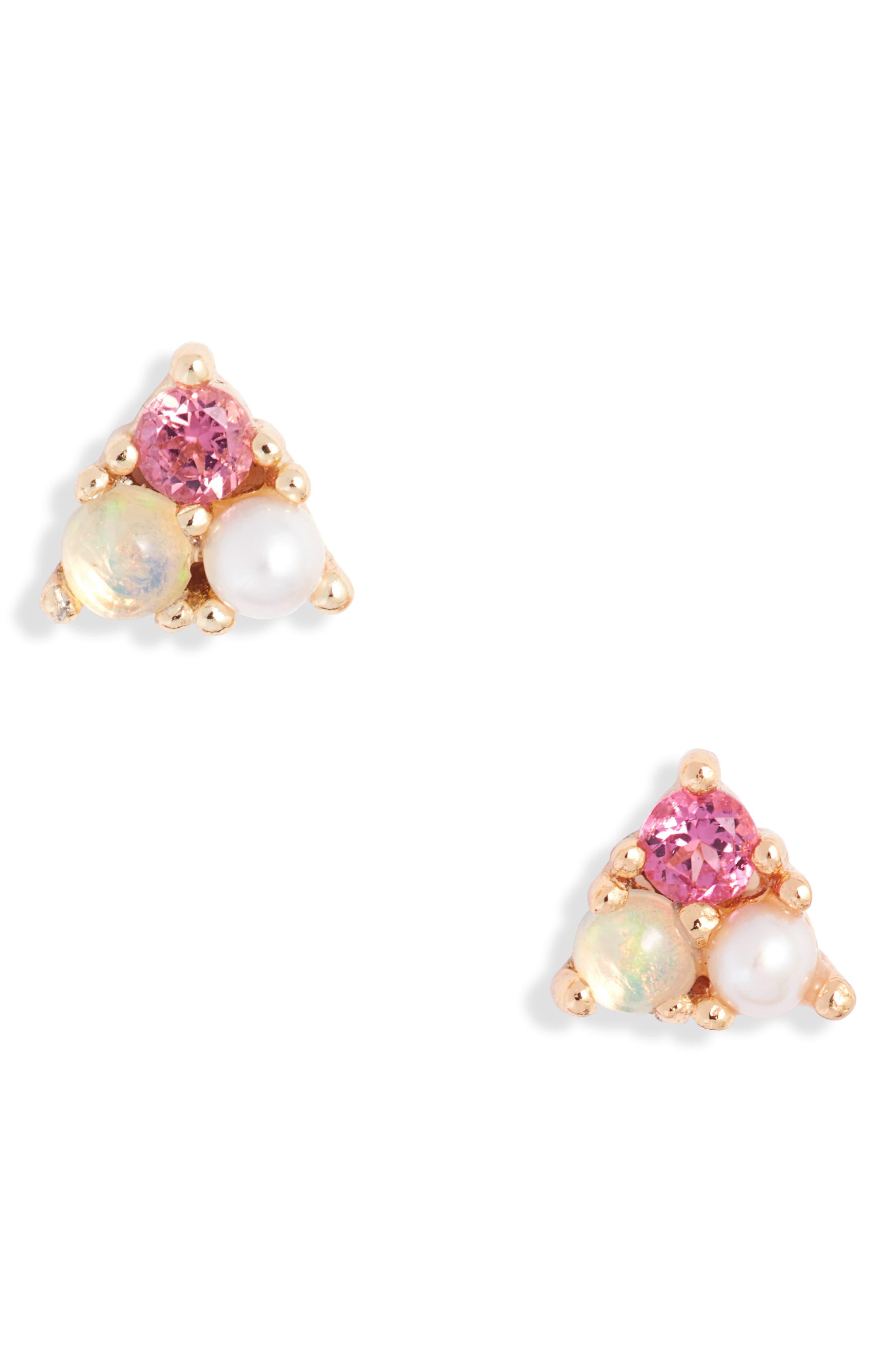 Semiprecious Stone & Pearl Stud Earrings
