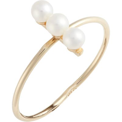 Poppy Finch Triple Cultured Pearl Bar Ring
