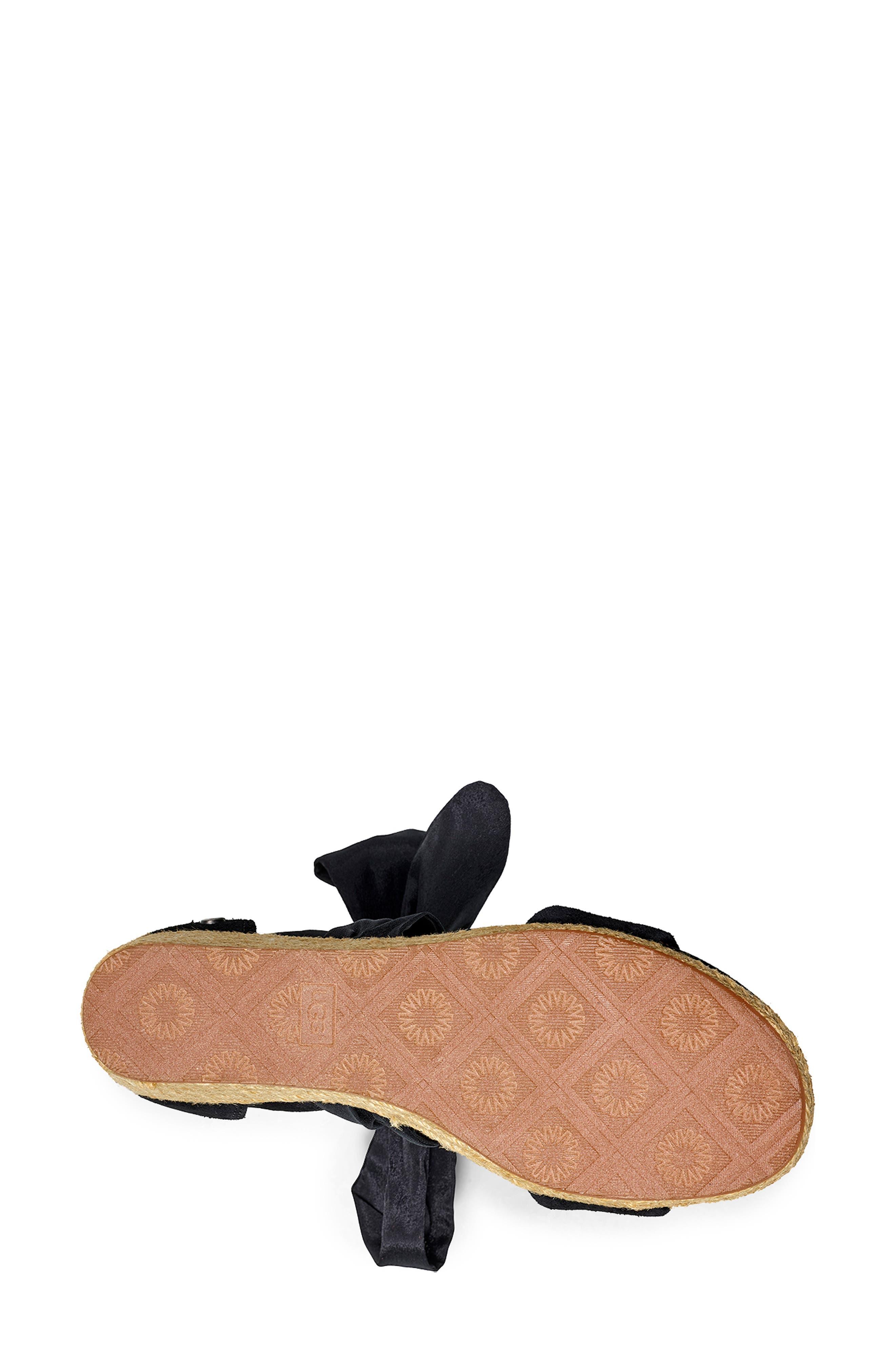 ,                             Trina Ankle Tie Wedge Sandal,                             Alternate thumbnail 5, color,                             BLACK LEATHER