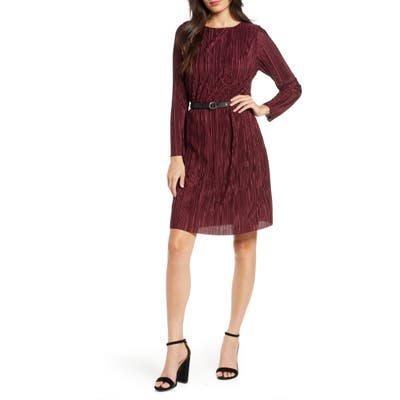 Sam Edelman Long Sleeve Belted Plisse Dress, Red