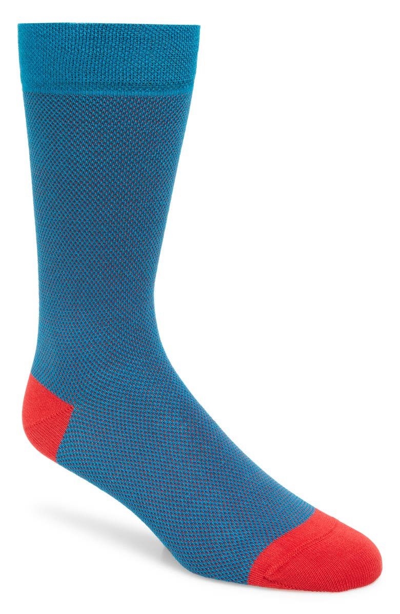 TED BAKER LONDON Textured Socks, Main, color, MID BLUE