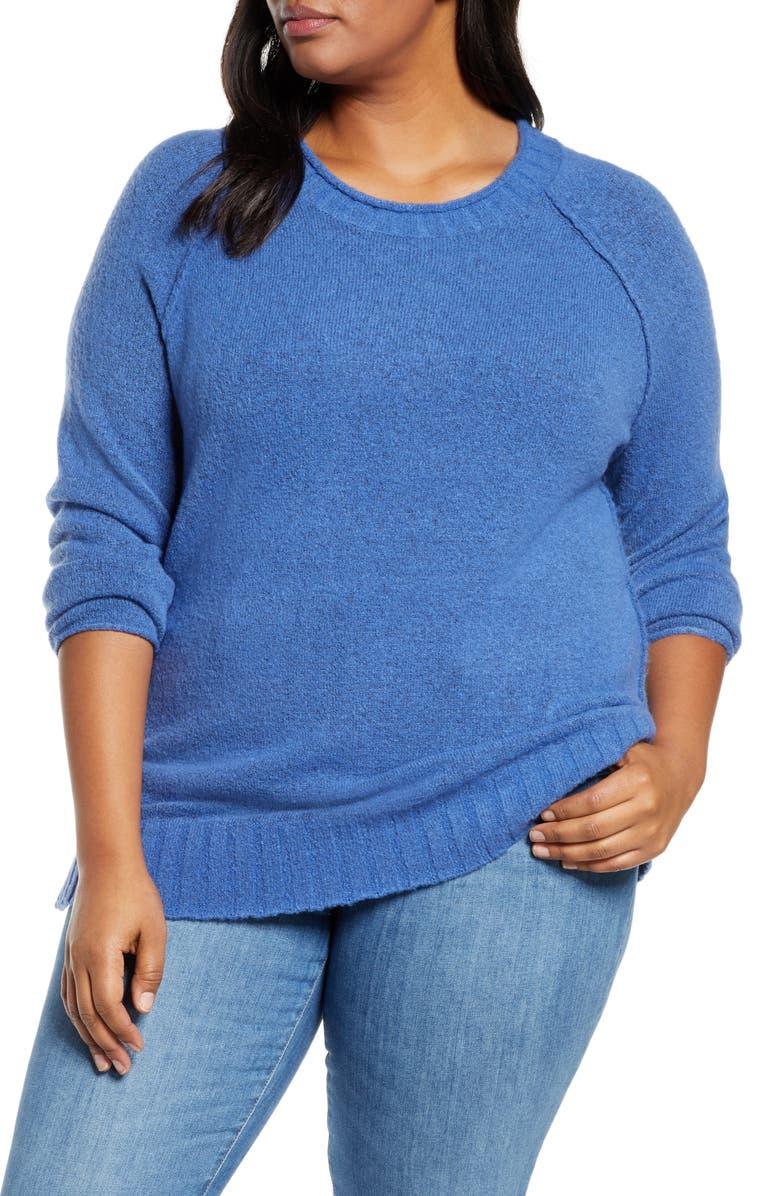 CASLON<SUP>®</SUP> Cozy Crewneck Sweater, Main, color, HEATHER BLUE