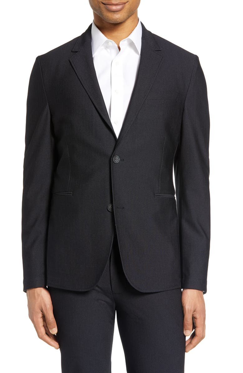 VINCE CAMUTO Slim Fit Performance Mesh Sport Coat, Main, color, BIRDSEYE BLACK