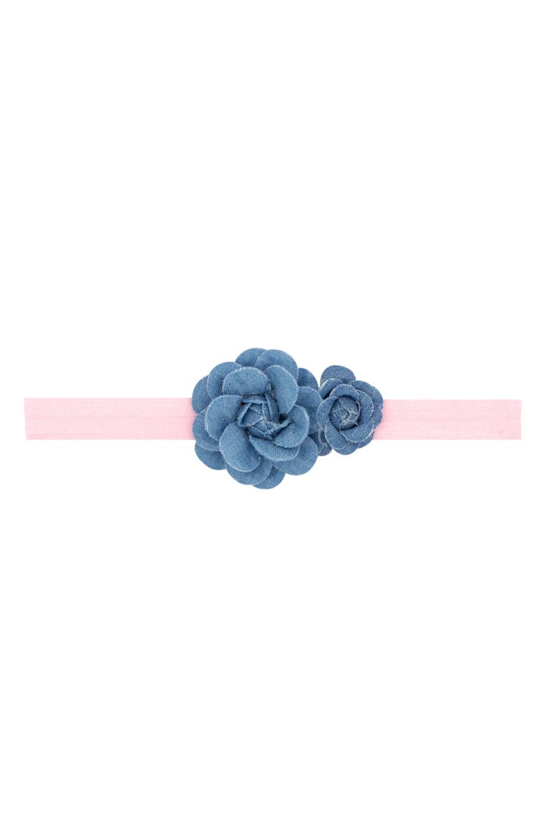 PLH BOWS Denim Flower Head Wrap, Main, color, DENIM