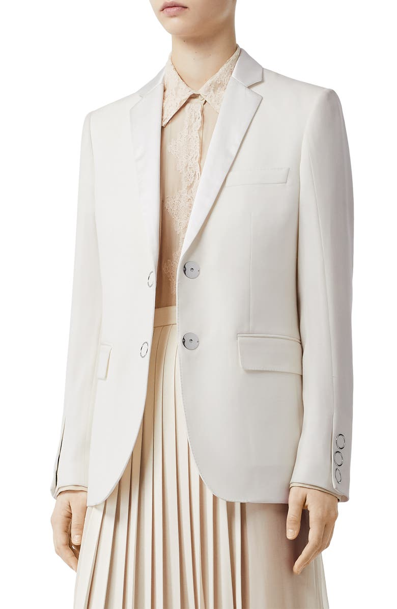 BURBERRY Caratown Satin Trim Wool Blazer, Main, color, NATURAL WHITE
