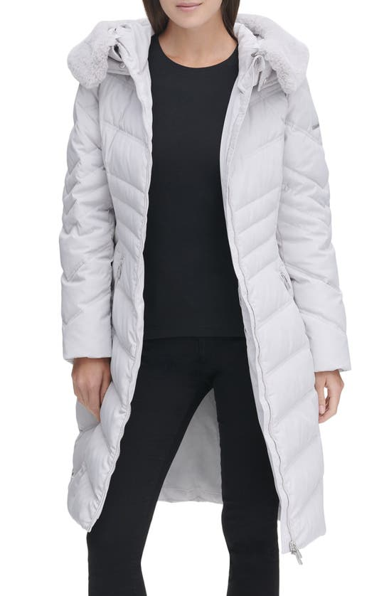 Karl Lagerfeld Water Resistant Down & Feather Puffer Coat With Faux Fur Trim Hood In Silver