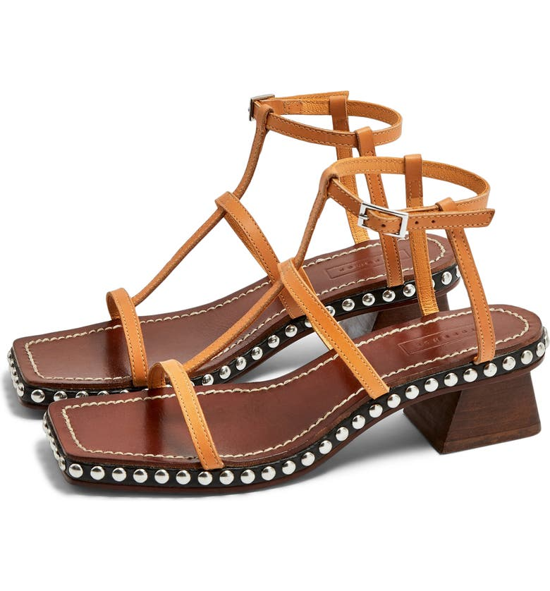 TOPSHOP Valentina Sandal, Main, color, BROWN MULTI