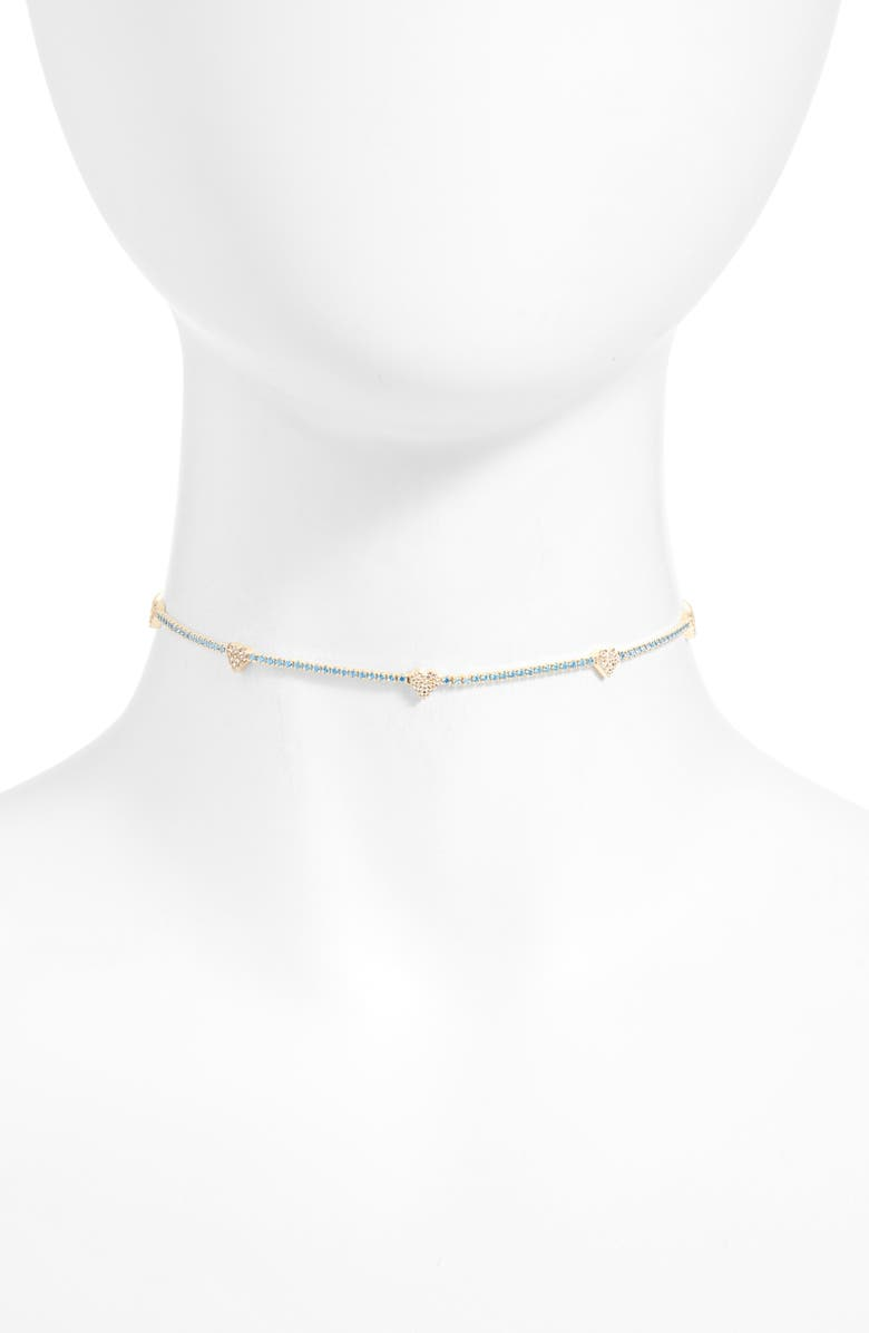 ADINA'S JEWELS Adina's Jewels Pastel Heart Tennis Choker Necklace, Main, color, AQUA BLUE