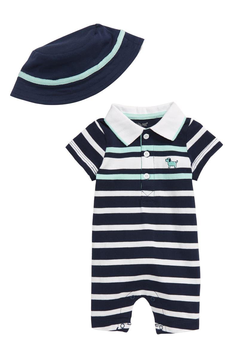 LITTLE ME Puppy Stripe Romper & Hat Set, Main, color, 457