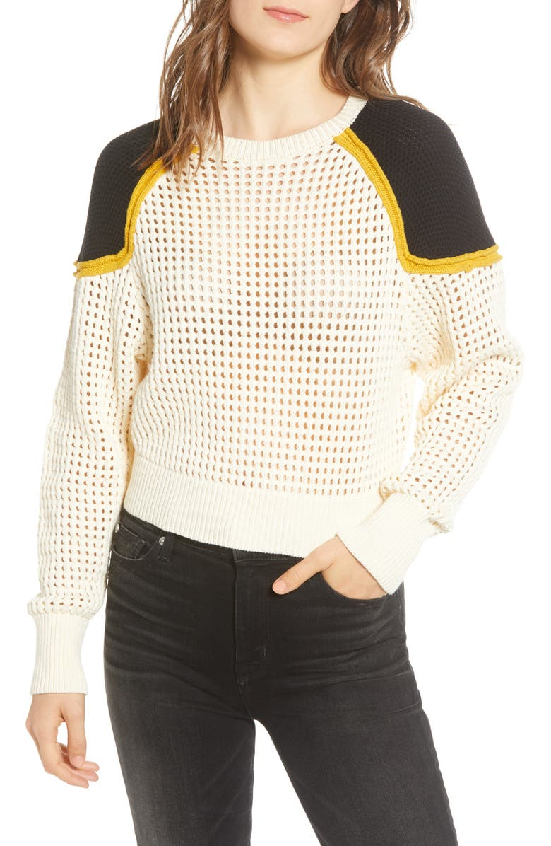 REBECCA MINKOFF Alexis Cotton Sweater, Main, color, ECRU MULTI
