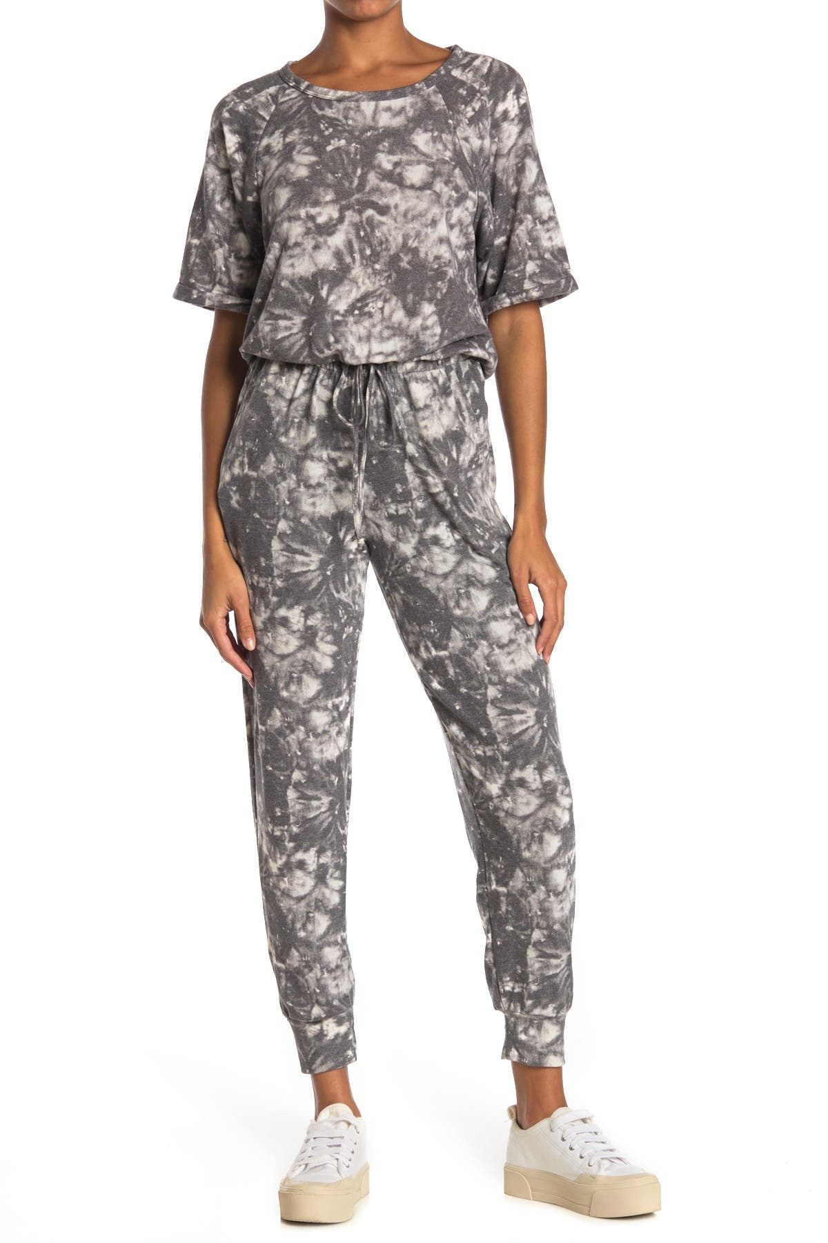 Image of Lush Printed Short Sleeve Jumpsuit