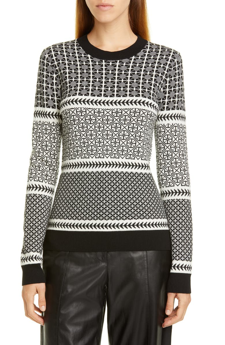 JASON WU Graphic Fair Isle Sweater, Main, color, BLACK/ STAR WHITE