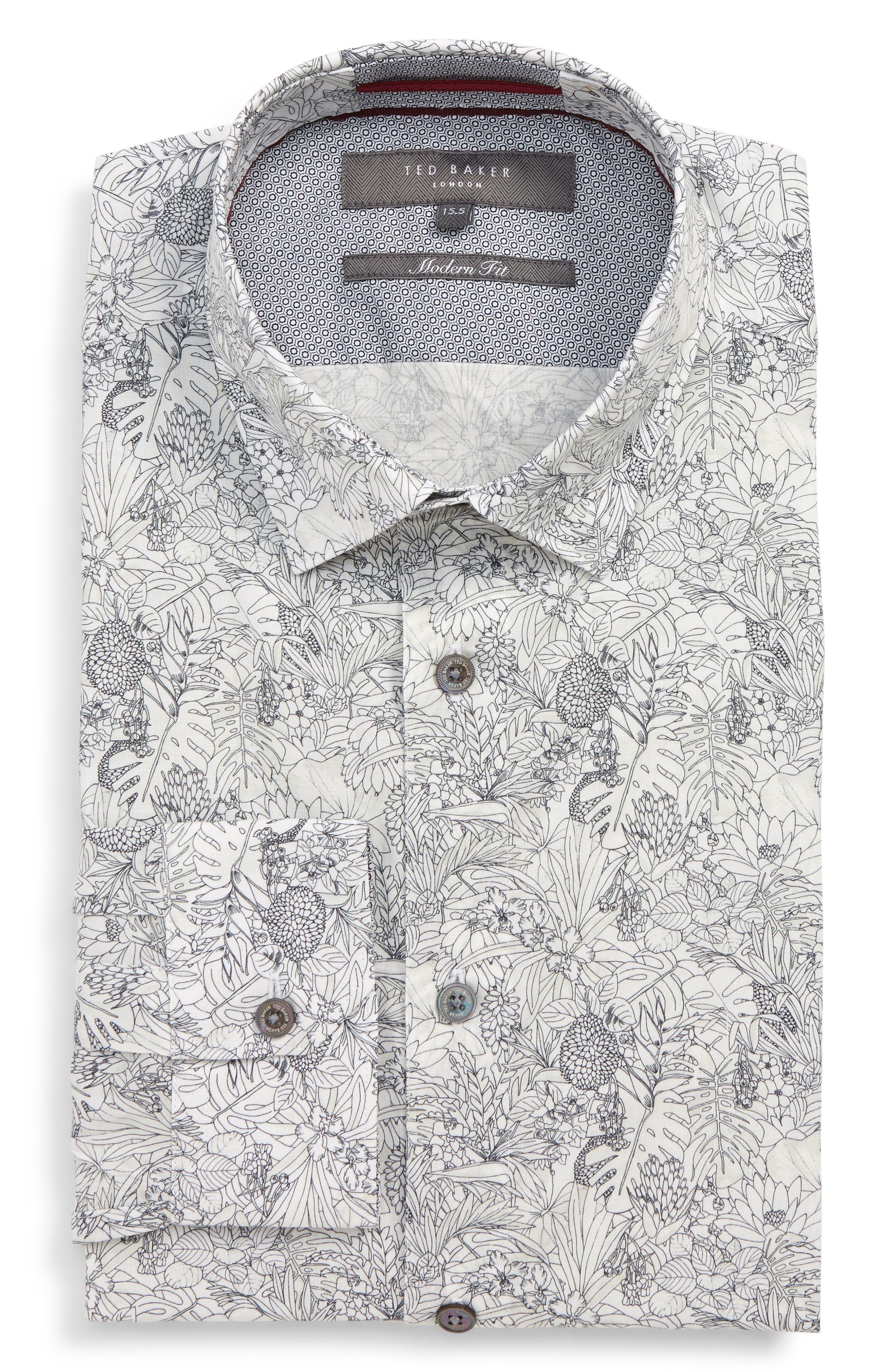 ,                             Modern Fit Stretch Floral Dress Shirt,                             Main thumbnail 1, color,                             WHITE