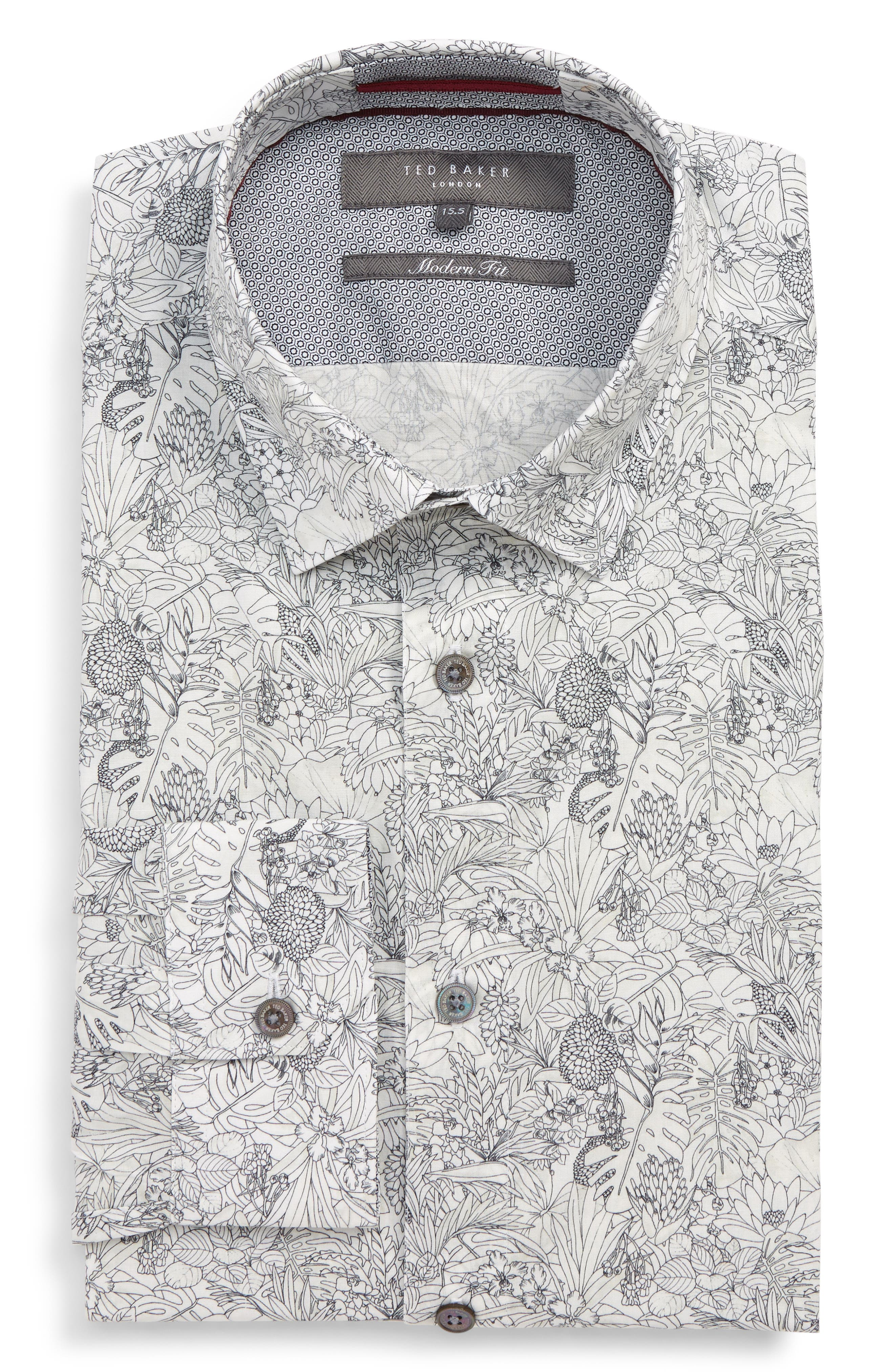 Modern Fit Stretch Floral Dress Shirt, Main, color, WHITE
