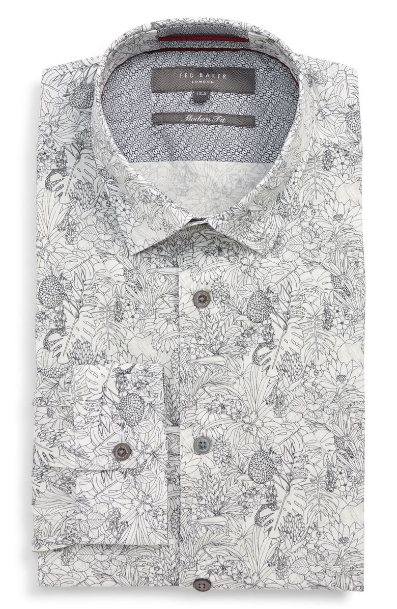 TED BAKER LONDON Modern Fit Stretch Floral Dress Shirt, Main, color, WHITE