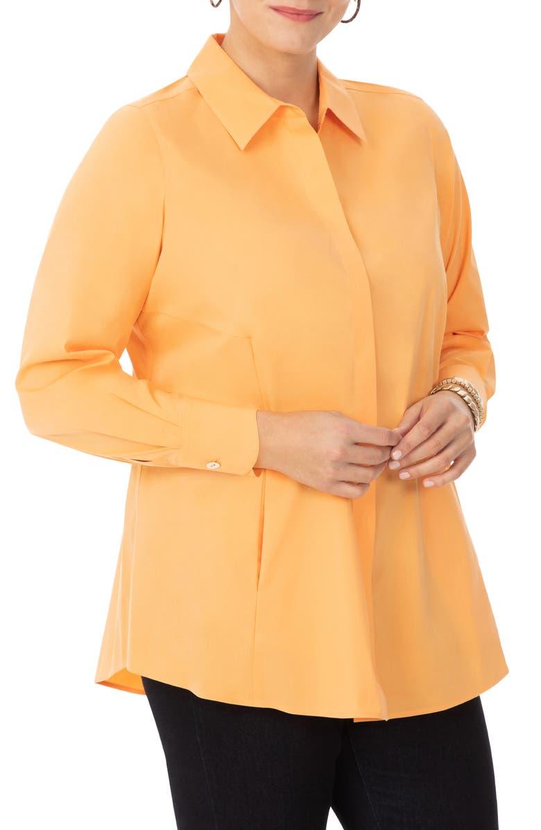 FOXCROFT Cici Stretch Tunic Shirt, Main, color, MELLOW MELON