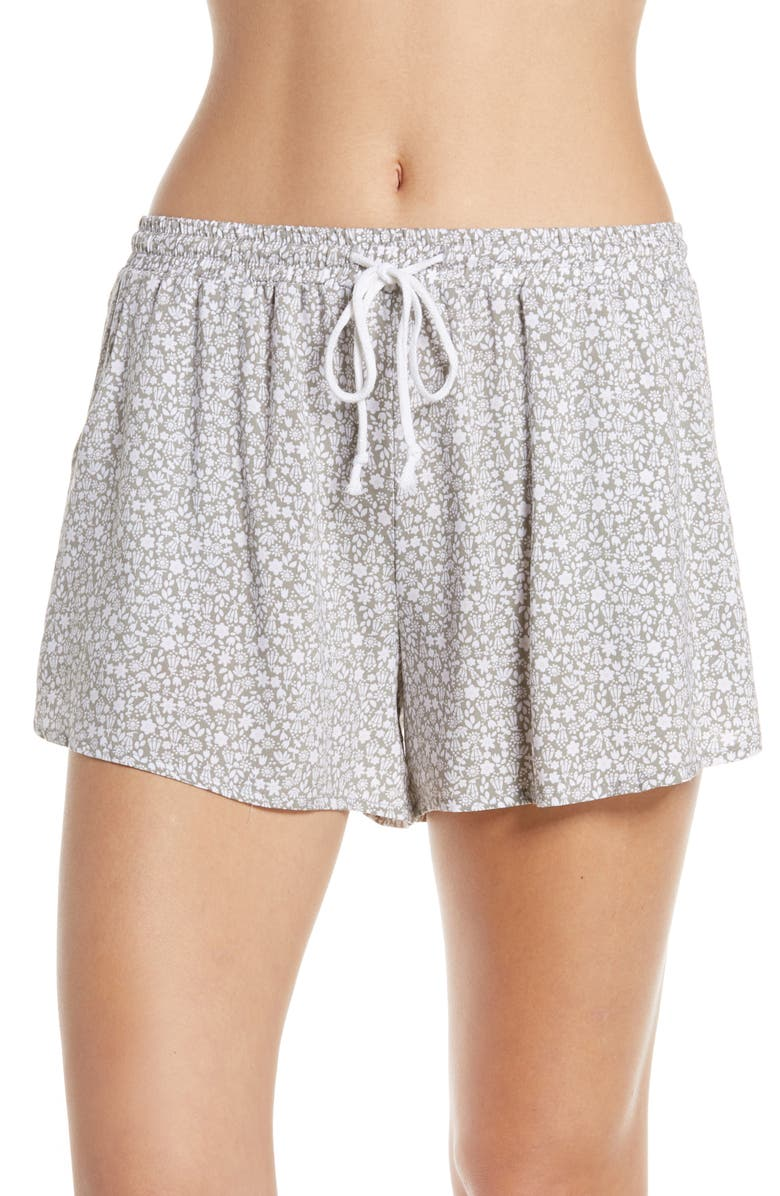 MAKE + MODEL Slumber Party Lounge Shorts, Main, color, GREEN VETIVER DITSY FLORAL
