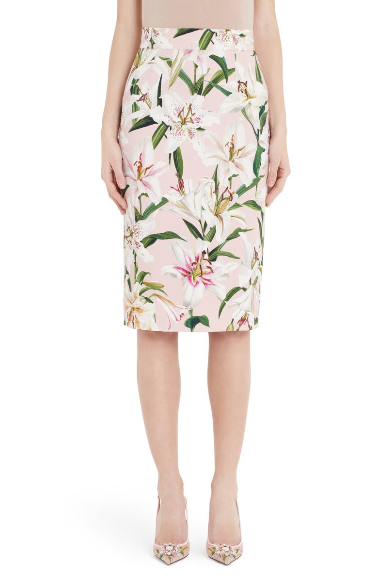 DOLCE&GABBANA Lily Print Pencil Skirt, Main, color, PINK LILY