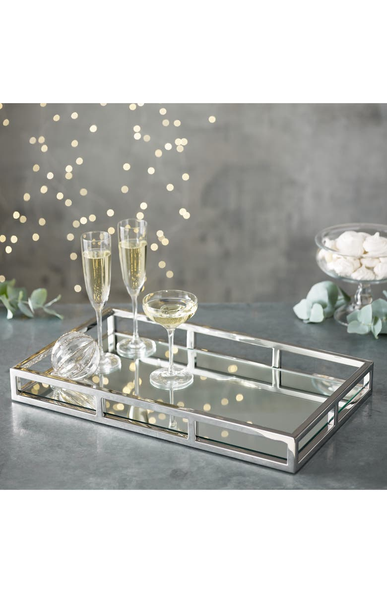 THE WHITE COMPANY Mirrored Rectangular Tray, Main, color, SILVER