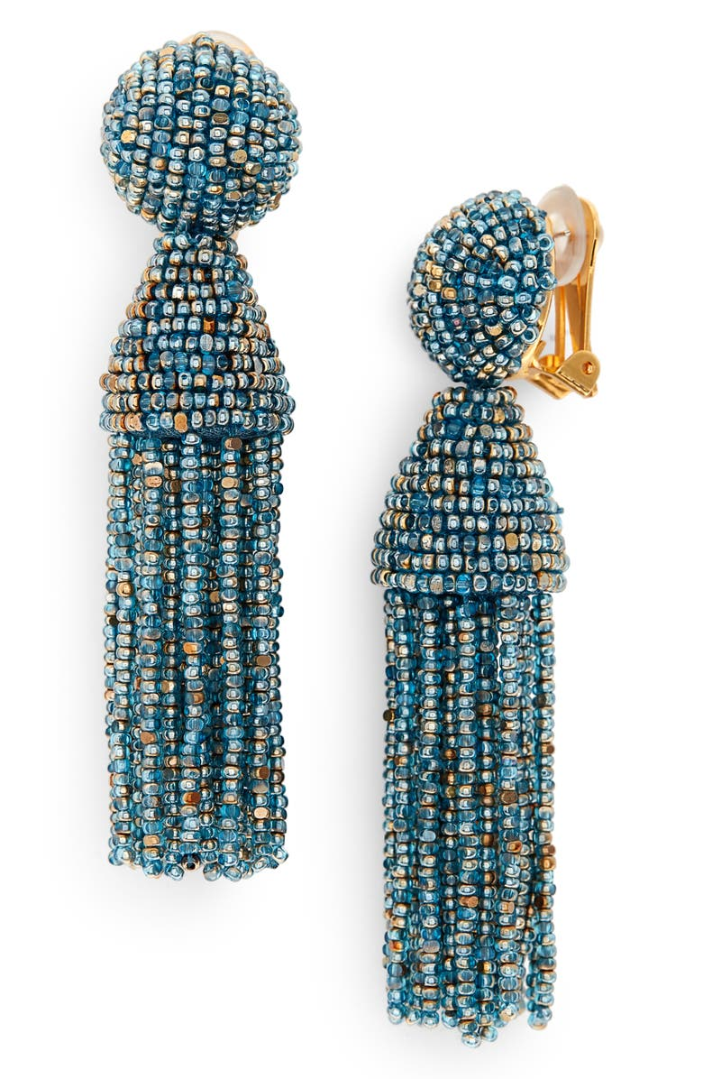 OSCAR DE LA RENTA Short Beaded Tassel Clip Earrings, Main, color, BLUE