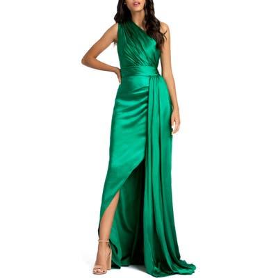 MAC Duggal One-Shoulder Faux Wrap Satin Gown, Green