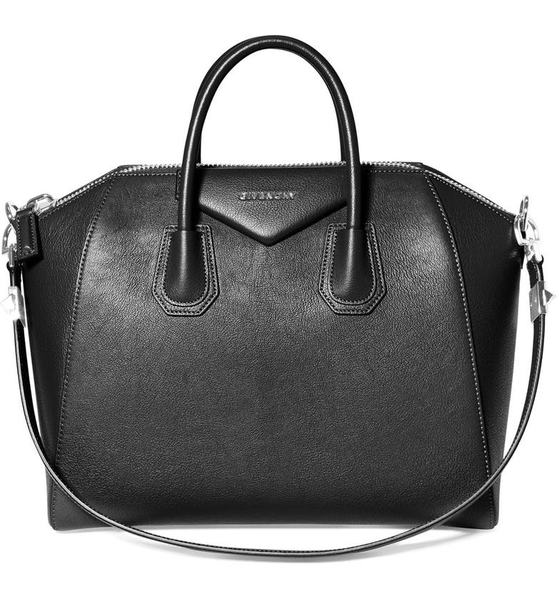 GIVENCHY 'Medium Antigona' Sugar Leather Satchel, Main, color, 001