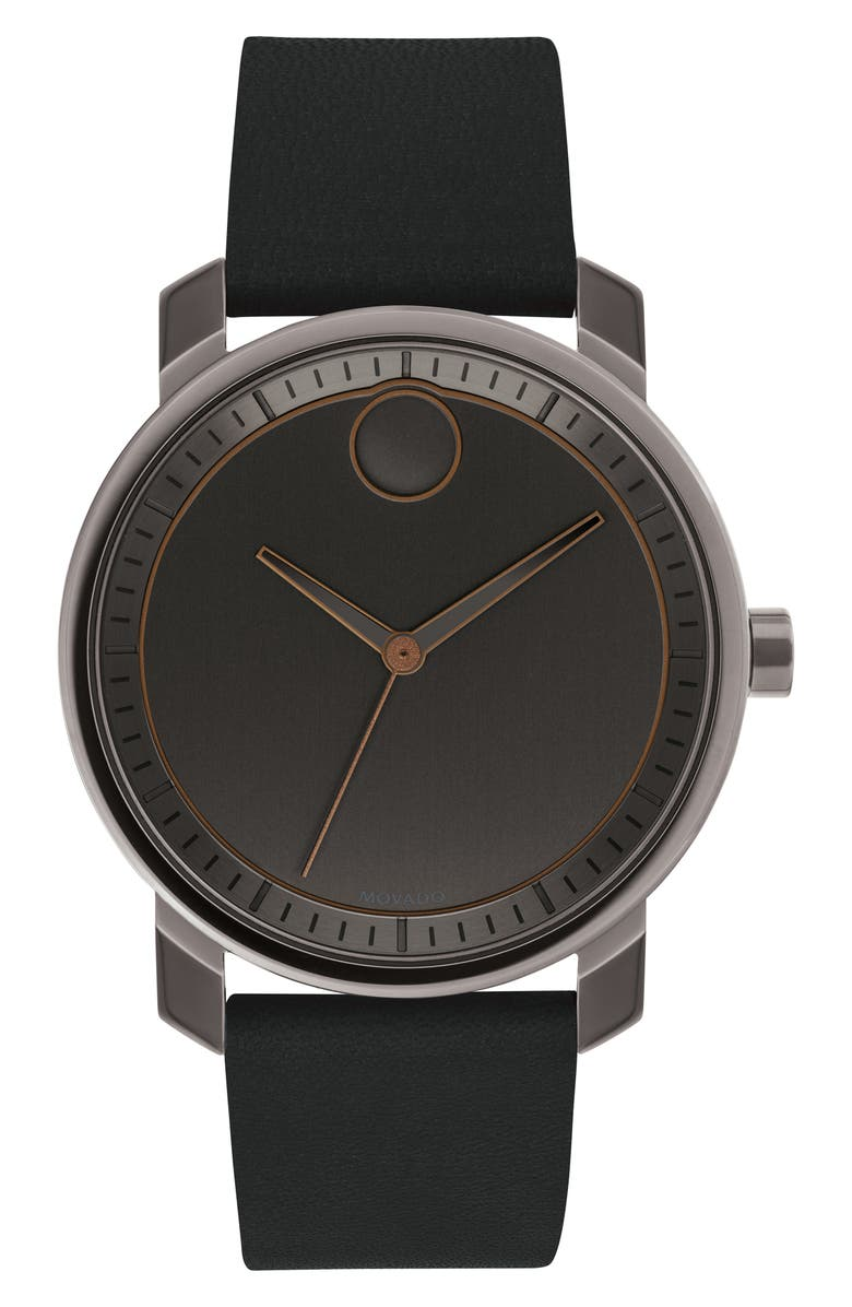MOVADO Bold Leather Strap Watch, 41mm, Main, color, 005