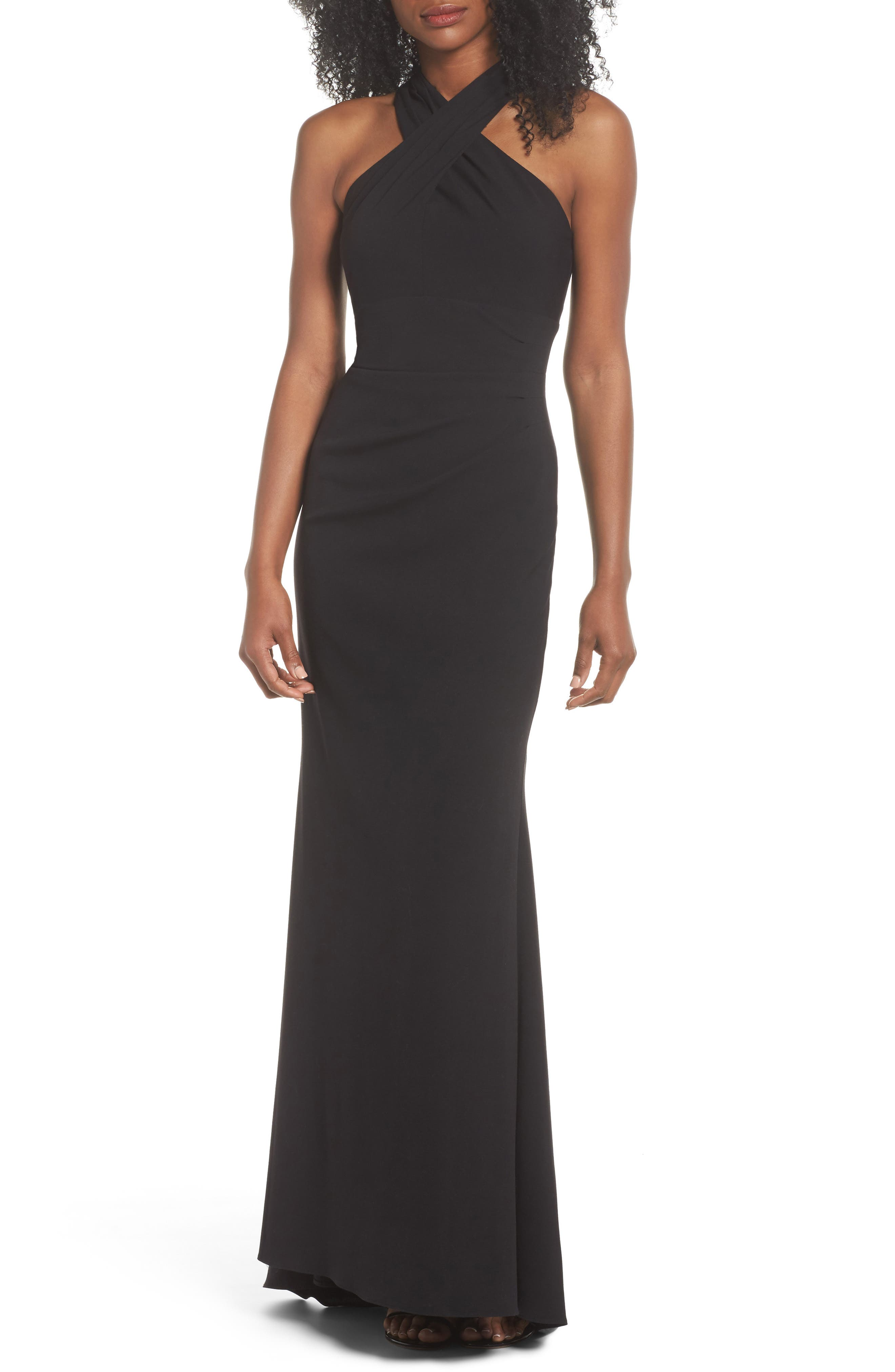 Eliza J Side Pleat Crossneck Gown, Black