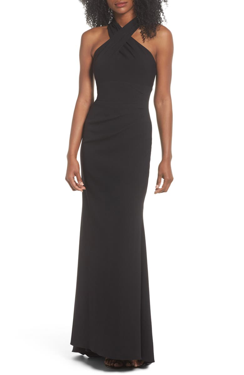 ELIZA J Side Pleat Crossneck Gown, Main, color, 001