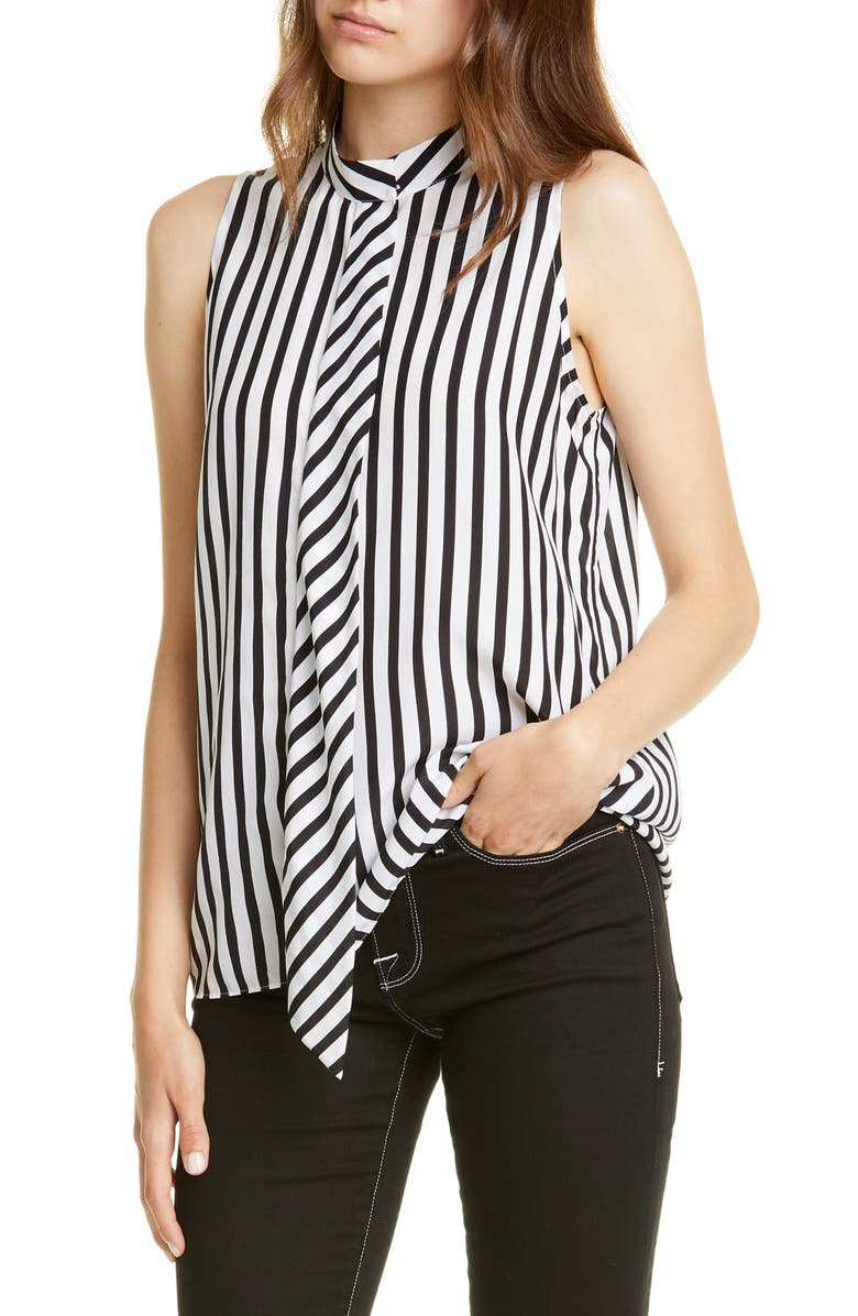 FRAME Cravat Detail Stripe Silk Tank