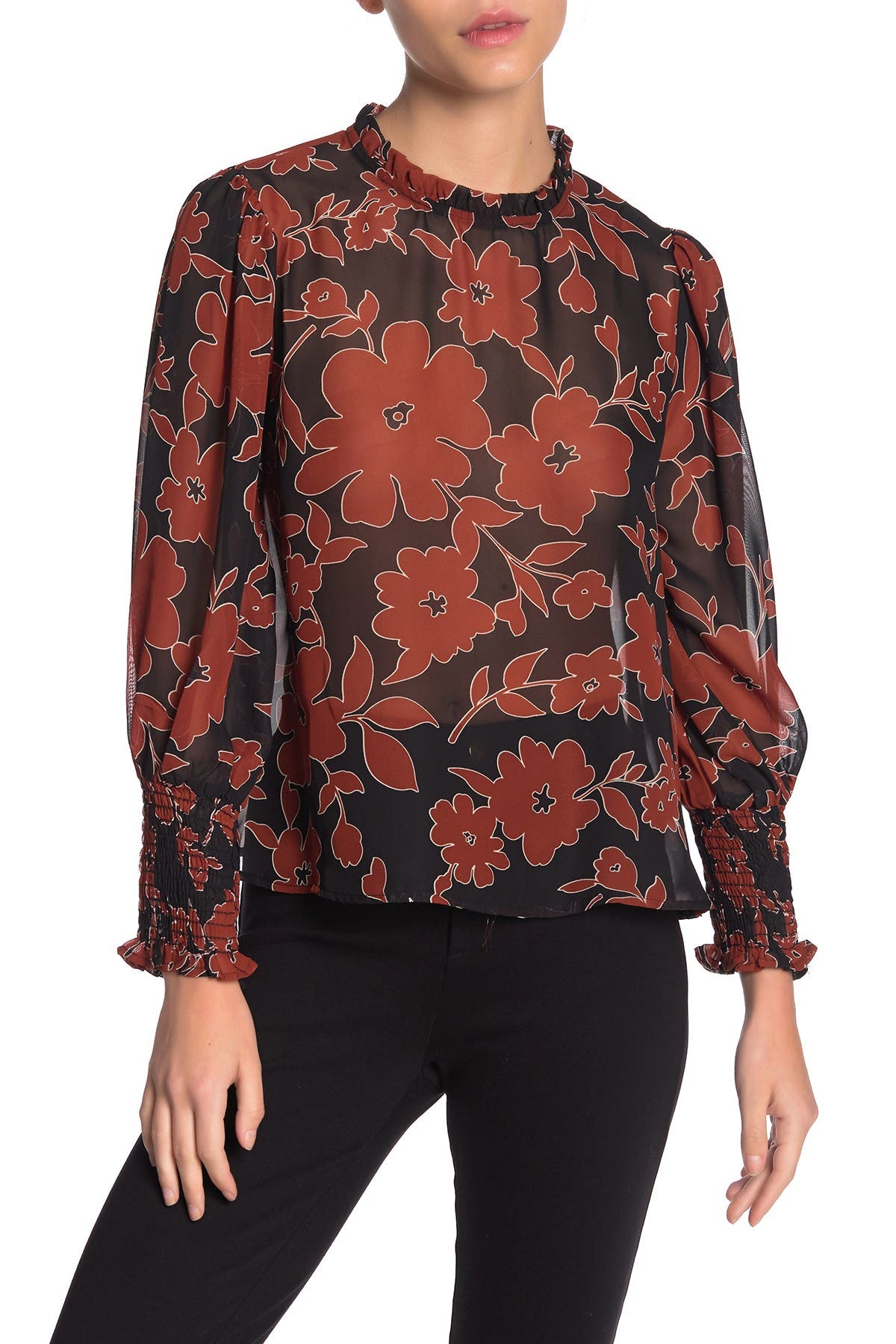 Image of Everleigh Ruffle Neck Long Sleeve Ruched Blouse