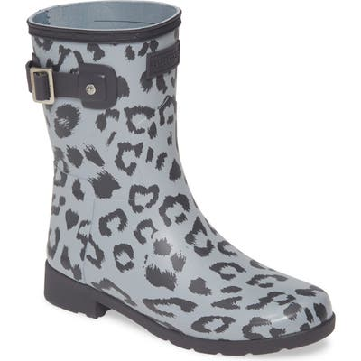 Hunter Original Leopard Print Refined Short Waterproof Rain Boot