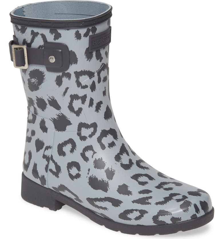 HUNTER Original Leopard Print Refined Short Waterproof Rain Boot, Main, color, LUNA/ STORMYGREY